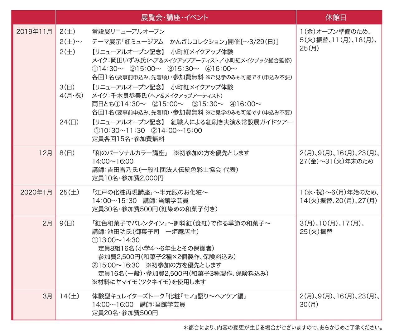 紅ミュージアム カレンダー
